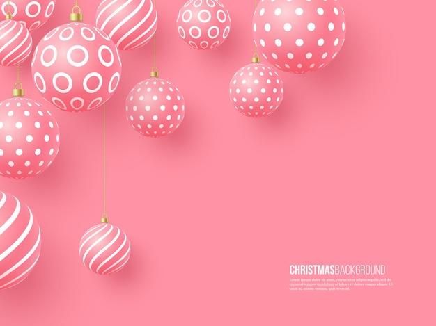 Rosa weihnachtskugeln mit geometrischem muster. realistischer stil 3d, abstrakter feiertagshintergrund, vektorillustration.