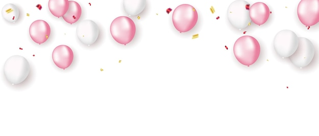 Rosa weiße ballons, konfetti-konzept-design-vorlage-feiertag happy valentines day, hintergrund feier vector illustration.