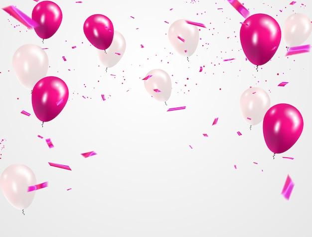 Rosa weiße ballons, konfetti