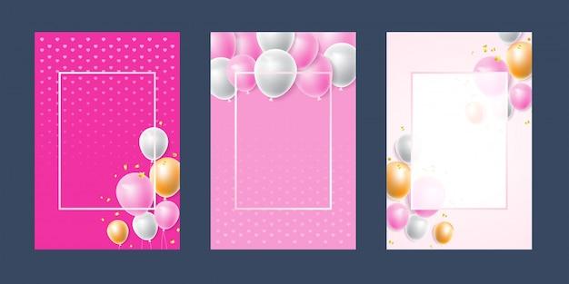 Rosa weiße konfettis des einladungskartenhintergrundes