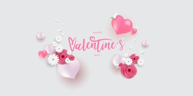 Rosa weiße luftballons-entwurfsschablone. fröhlichen valentinstag