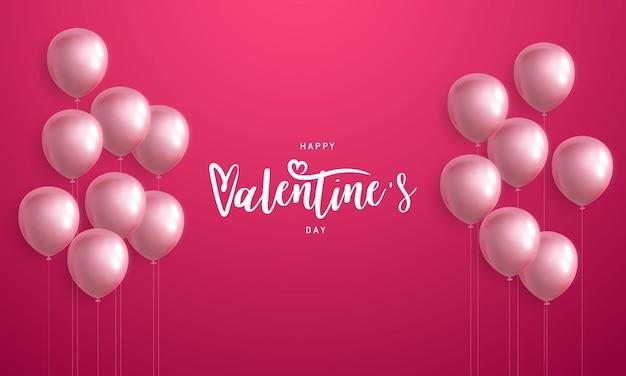 Rosa weiße luftballons, glücklicher valentinstag
