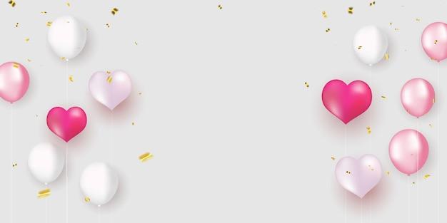 Rosa weiße luftballons, konfetti-design