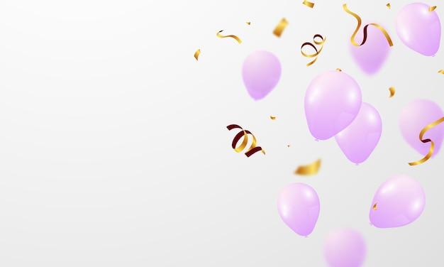 Rosa weiße luftballons, konfetti-konzeptentwurfsschablone glücklicher valentinstag, hintergrundfeier-vektorillustration.