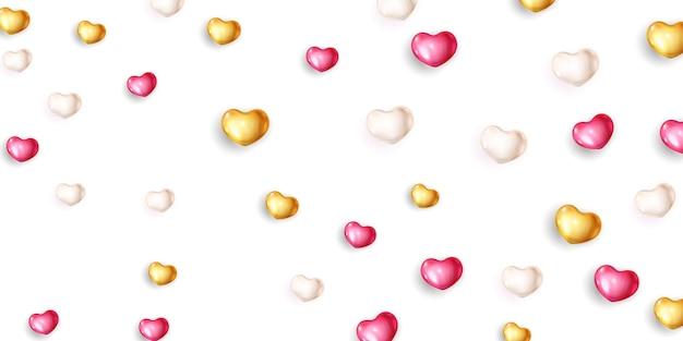 Rosa weiße luftballons schablonenfeiertag glücklicher valentinstag