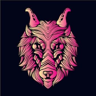Rosa wolfskopfillustration