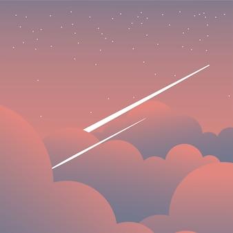 Rosa wolken am himmel mit sternschnuppenentwurf, landschaftsnaturumgebung und im freienthema