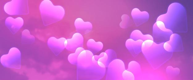 Rosa wolken mit herzvektorhintergrund. helle dekoration für ihr design