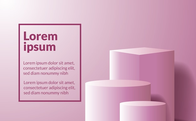 Rosa würfel und zylinder des minimalismus 3d für produktplatzierung oder bühne für auszeichnungen