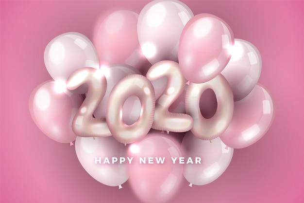 Rosa zusammenstellung des neuen jahres 2020 der ballone