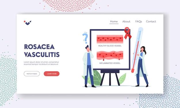 Rosacea-vaskulitis-landing-page-vorlage. winzige arztfiguren mit riesigem thermometer stehen bei infografiken zur präsentation gesunder und entzündeter blutgefäße. cartoon-menschen-vektor-illustration