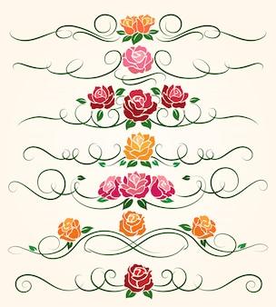 Rosafarbene blumenteiler mit dekorativen schnörkeln