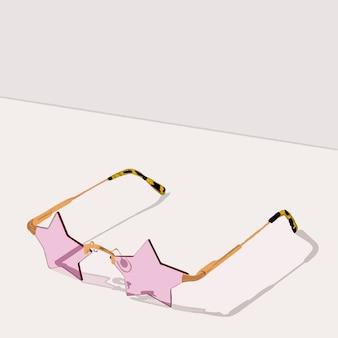 Rosafarbene sternförmige sonnenbrille mit leopardenrand.