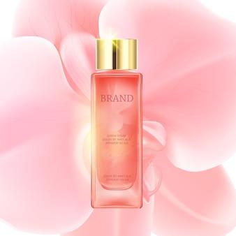 Rosafarbene transparente flasche der kosmetischen luxusanzeigen