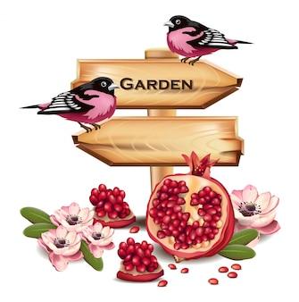 Rosafarbene vögel auf hölzernem zeichen. platz für text. früchte dekor. realistische detaillierte illustrationen