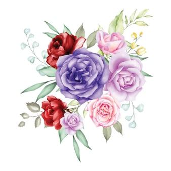 Rosafarbener blumenstrauß des aquarells backfround