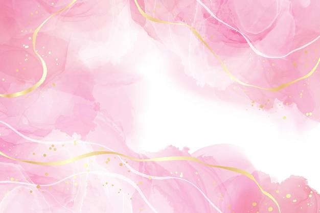 Rosafarbener flüssiger aquarellhintergrund mit goldenen linien