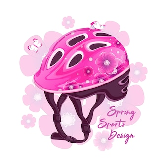 Rosafarbener helm mit blumenmuster zum rollschuhlaufen.