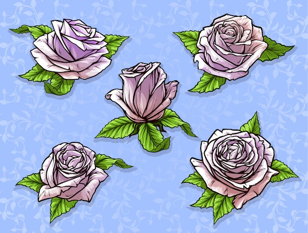 Rosafarbener knospen-vektorsatz der grafischen ausführlichen karikatur