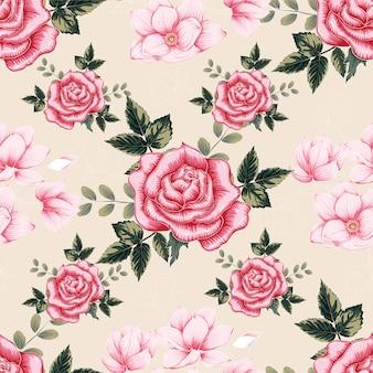 Rosafarbener pastell rose des nahtlosen musters blüht hintergrund.
