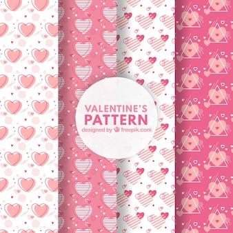 Rosafarbener valentinsgrußtagesmustersatz
