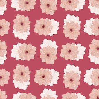 Rosafarbenes abstraktes nahtloses blumenmuster mit anemonenblumendruck der einfachen art. handgezeichnete kunstwerke. vektorillustration für saisonale textildrucke, stoffe, banner, hintergründe und tapeten.