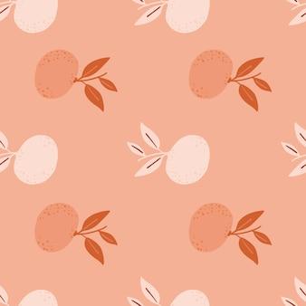 Rosafarbenes abstraktes nahtloses muster mit minimalistischen mandarinensilhouetten