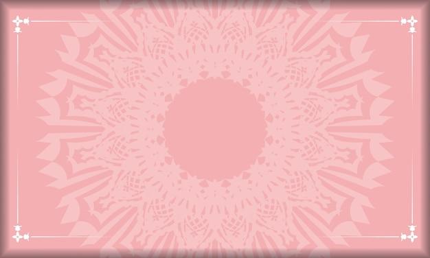 Rosafarbenes banner mit weißem vintage-ornament für logo- oder textdesign