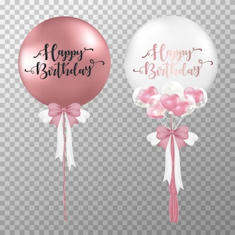 Rosafarbenes gold des realistischen geburtstages und weißer heliumballon.