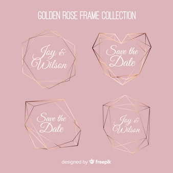 Rosafarbenes goldrahmenset der metallischen beschaffenheit