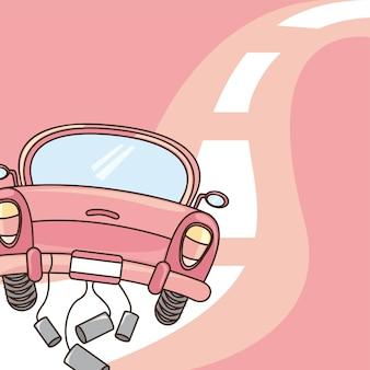 Rosafarbenes nettes auto über straßenhintergrund-vektorillustration