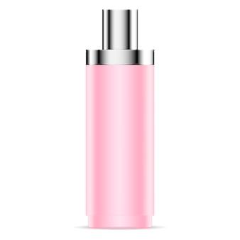 Rosafarbenes plastikflaschenmodell aus mattiertem glas