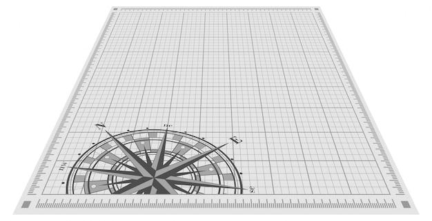 Rosafarbenes schattenbild des kompassses über planhintergrund