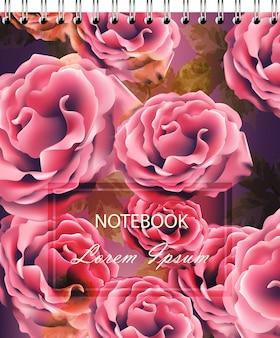 Rose blüht hintergrundschablone für notizbuch vektor. realistische 3d blumen