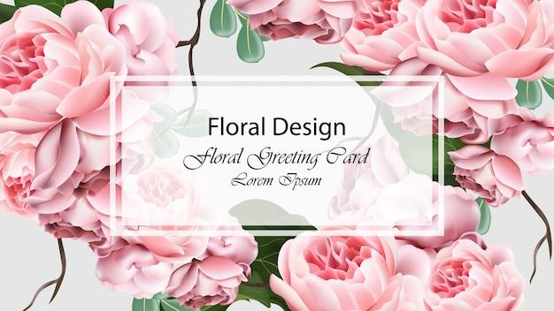 Rose blüht hintergrundschablonenkarten vektor. realistische 3d-design-dekor
