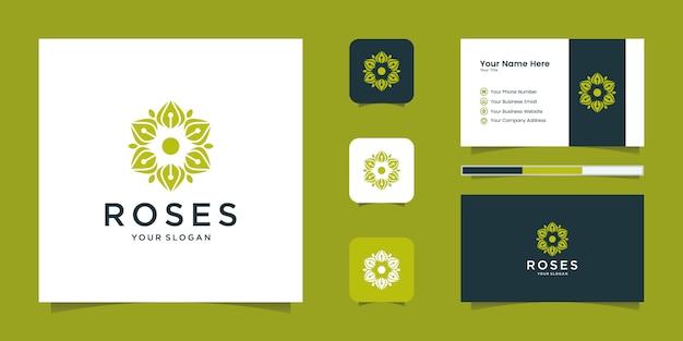 Rose elegantes blumenlogo für schönheit, kosmetik, yoga und spa. logo-design und visitenkarte