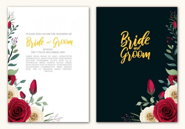 Rose flower hochzeitskarte vorlage