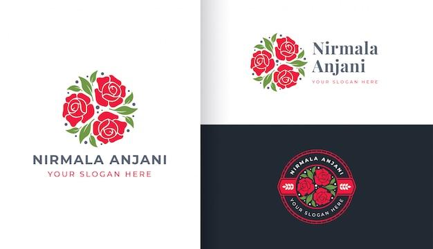 Rose flower logo mit kreis abzeichen vorlage