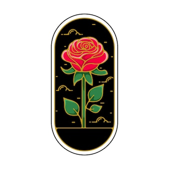 Rose flower monoline abzeichen