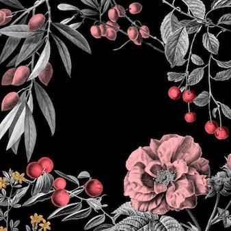 Rose frame vintage floral vector illustration und früchte auf schwarzem hintergrund Premium Vektoren