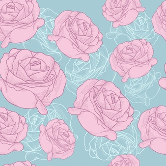 Rose handgezeichnete vektor-illustration nahtlose muster