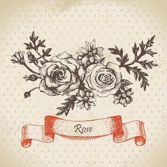 Rose. handgezeichnetes vintage-design