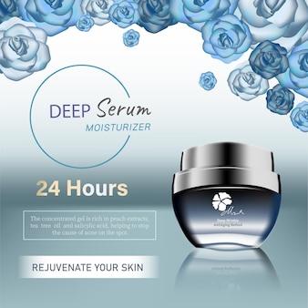 Rose kosmetische anzeigen tröpfchen und 3d-flasche im blauen meer mit burst-licht in 3d-darstellungsrosen
