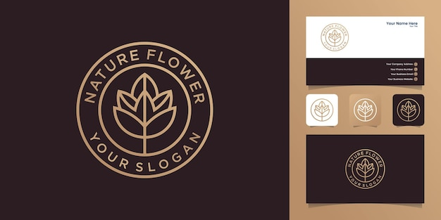 Rose linie logo mit kreis umriss vintage design vorlage und visitenkarte