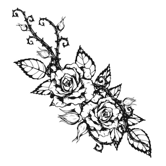 Rose ornament tattoo von hand zeichnung
