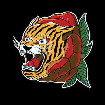 Rose tiger vintage tattoo illustration