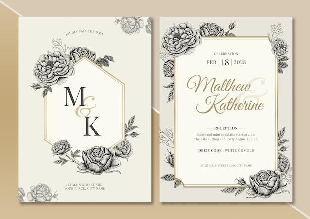 Rose und pfingstrose vintage blumen illustration hochzeitseinladungskarte mit text layout