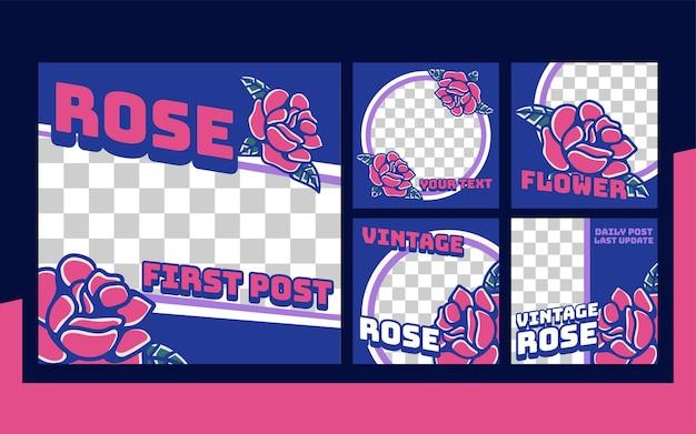 Rose vintage retro instagram post set sammlungsvorlage