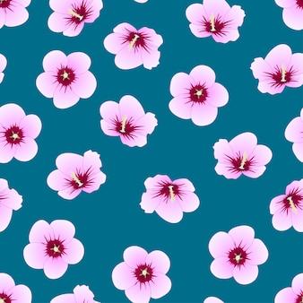 Rose von sharon auf indigo blue hintergrund.
