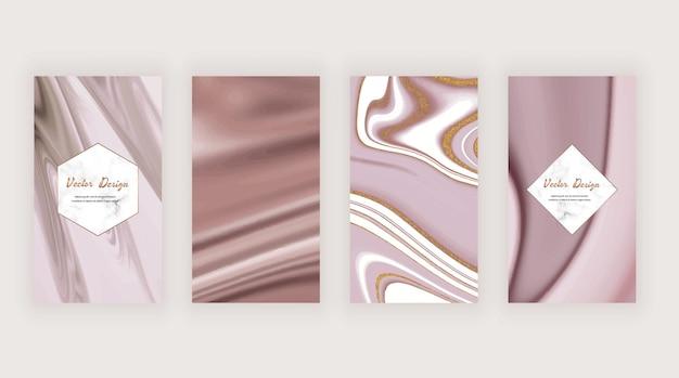 Roségold, braun und lila mit goldener glitzer-textur für social-media-geschichten